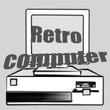 Equipo de escritorio retro del inconformista del viejo vintage y una inscripción retra del ordenador 70 del ` s, 80 ` s, 90 ` s I stock de ilustración