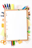 Equipo de escuela con el cuaderno Imagen de archivo