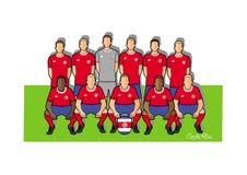 Equipo de fútbol 2018 de Costa Rica Imagenes de archivo