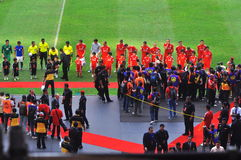 Equipo de fútbol de Malasia y de Liverpool Fotografía de archivo libre de regalías