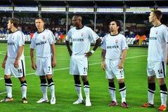 Equipo de fútbol de Zorya en el campo Foto de archivo libre de regalías