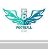 Equipo de fútbol del fútbol de la plantilla del logotipo del vector alas Imágenes de archivo libres de regalías