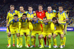 Equipo de fútbol del nacional de Ucrania Imagen de archivo libre de regalías