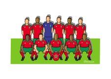 Equipo de fútbol 2018 de Marruecos Imagen de archivo libre de regalías