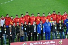 Equipo de fútbol nacional de España durante una sesión de foto en el st Foto de archivo libre de regalías