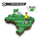 Equipo de fútbol nacional del Brasil El futbolista y la bandera en país del diseño 3d trazan Fondo aislado Vector para w internac Imagen de archivo