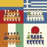 Equipo de fútbol y bandera Imagen de archivo libre de regalías