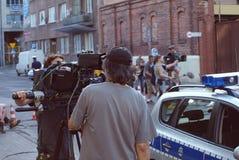 Equipo de filmación Serial criminal ` Del krawedzi del Na del ` foto de archivo libre de regalías