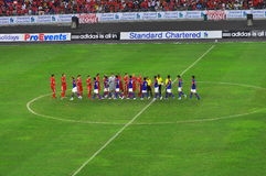 Equipo de fútbol de Malasia y de Liverpool Foto de archivo libre de regalías