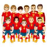 Equipo de fútbol rojo Fotos de archivo libres de regalías