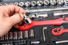 Equipo de herramienta para el mecánico de un coche Foto de archivo libre de regalías
