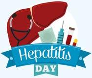 Equipo de herramientas de la prevención y del control, conmemorando día de la hepatitis, ejemplo del vector ilustración del vector