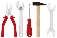 Equipo de herramientas industrial - alicates, llave ajustable, destornillador, martillo, llave inglesa Herramientas del metal con libre illustration