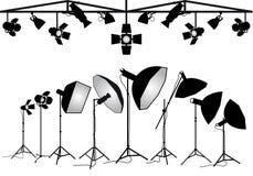 Equipo de iluminación de la fotografía, sistema del vector Fotos de archivo libres de regalías