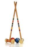 Equipo de juego del croquet Fotos de archivo libres de regalías