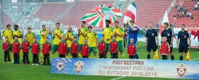 Equipo de Kuban antes del juego de fútbol Fotografía de archivo