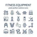 EQUIPO DE LA APTITUD: Iconos del esquema, pictograma y colección del símbolo fotos de archivo libres de regalías
