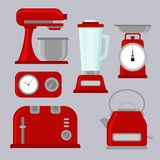 Equipo de la cocina, iconos modernos del color, ilustrador del vector, sistema de seis ilustración del vector