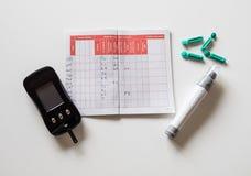 Equipo de la diabetes para el nivel de azúcar de sangre de la prueba del uno mismo con glycometer Imagen de archivo libre de regalías