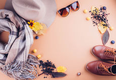 Equipo de la hembra del otoño Sistema de ropa, de zapatos y de accesorios fotografía de archivo