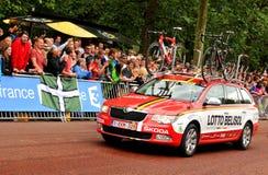 Equipo de la loteria-Belisol en el Tour de France Imagen de archivo libre de regalías