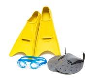 Equipo de la natación, paletas de los anteojos de las aletas Fotos de archivo libres de regalías