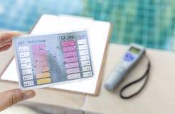 Equipo de la prueba de agua sobre fondo borroso del probador del agua y del tablero digitales del papel Imagen de archivo libre de regalías