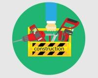 Equipo de la reparación con la caja de herramientas amarilla a disposición stock de ilustración