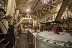 Equipo de la sala de máquinas del vapor en Liberty Ship Foto de archivo libre de regalías