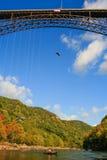 Equipo de la seguridad del puente de garganta de nuevo río del día del puente Fotografía de archivo