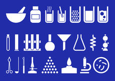 Equipo de laboratorio - conjunto de pictogrammes del vector Imagen de archivo