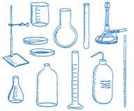 Equipo de laboratorio de ciencia - estilo del doodle Foto de archivo