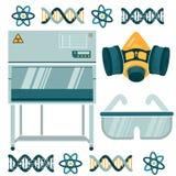 Equipo de laboratorio para el trabajo con la más substancest tóxico stock de ilustración