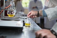 Equipo de laboratorio para la destilación Separación de las sustancias componentes, frasco de Erlemeyer, aparato Foto de archivo libre de regalías