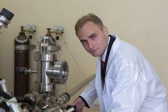 Equipo de laboratorio para los experimentos científicos Fondo industrial abstracto imágenes de archivo libres de regalías
