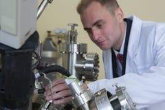 Equipo de laboratorio para los experimentos científicos Fondo industrial abstracto foto de archivo libre de regalías