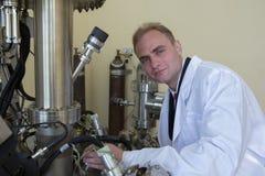 Equipo de laboratorio para los experimentos científicos Fondo industrial abstracto fotografía de archivo libre de regalías