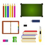 Equipo de las fuentes de escuela y de nuevo a iconos de la escuela stock de ilustración