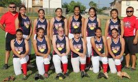 Equipo 2014 de las Todo-estrellas del softball de Eagle Pass Little League Juniors Fotografía de archivo
