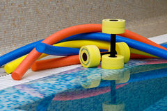 Equipo de los aeróbicos de agua Foto de archivo libre de regalías