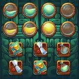 Equipo de los botones de los iconos del GUI de los chamanes de la selva