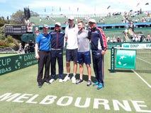 Equipo de los E.E.U.U. Davis Cup después de ganar el lazo de Davis Cup contra Australia Fotos de archivo libres de regalías