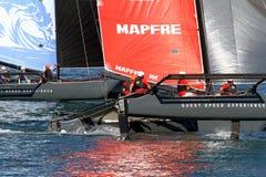 Equipo de Mapfre de entrenamiento de los catamaranes de ProAM 32 Imagen de archivo libre de regalías
