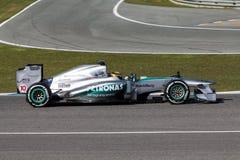 Equipo de Mercedes AMG Petronas F1 - Lewis Hamilton - 2013 Foto de archivo