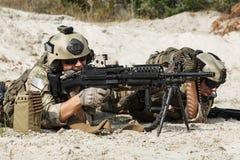 Equipo de metralleta de los guardabosques del Ejército de los EE. UU. Fotografía de archivo