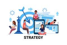 Equipo de mujer del hombre de negocios usando futture creativo de trabajo acertado de la innovación del trabajo en equipo de la g ilustración del vector