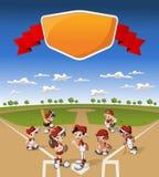 Equipo de niños de la historieta que juegan a béisbol Imágenes de archivo libres de regalías