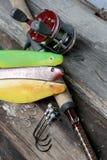 Equipo de pesca suave del cebo imagen de archivo