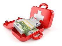 Equipo de primeros auxilios con moneda euro Imágenes de archivo libres de regalías