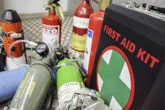 Equipo de primeros auxilios de la aviación Foto de archivo libre de regalías